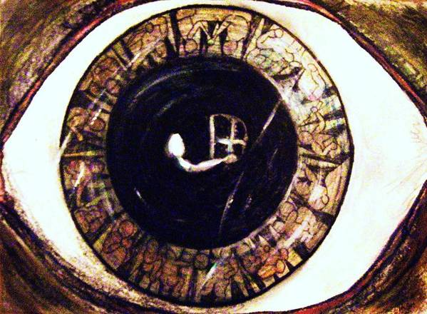 Eye Art Print featuring the painting I-ris eye was a pupil by Richard Hubal