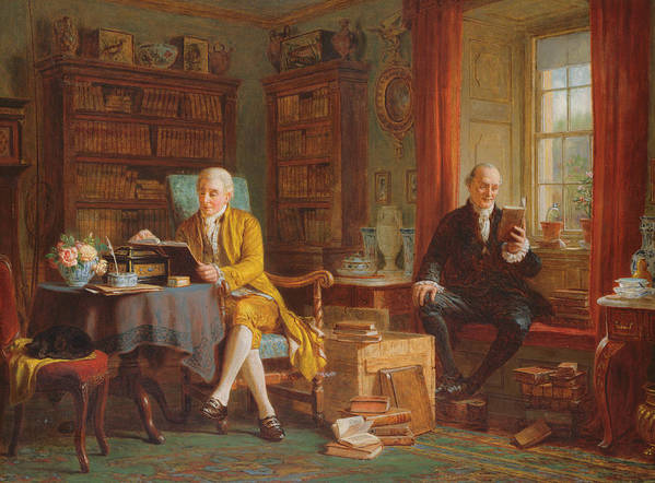 In The Library Art Print featuring the painting In The Library by John Watkins Chapman