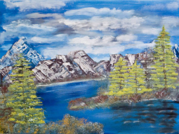 Wooded Landscape Art Print featuring the painting Island Cove by Mikki Alhart