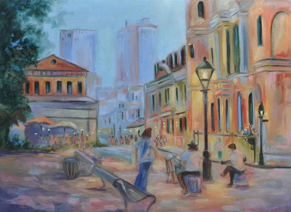 New Orleans Art Print featuring the painting Jackson Square Musicians by Ginger Concepcion