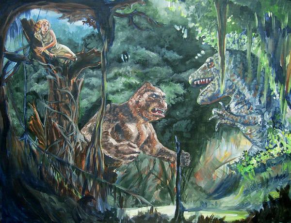 King Kong Art Print featuring the painting King Kong vs T-Rex by Bryan Bustard
