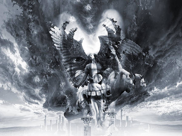 Gray Character Prints Angels And Demons Canvas Painting Wall Art For No Frame