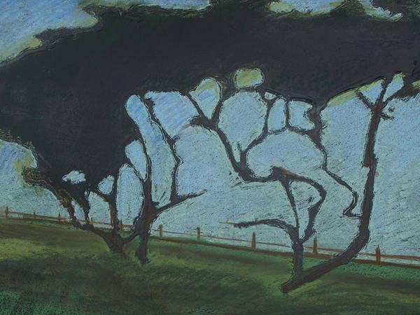Contemporary Tree Landscape Art Print featuring the mixed media La Jolla III by Leah Tomaino