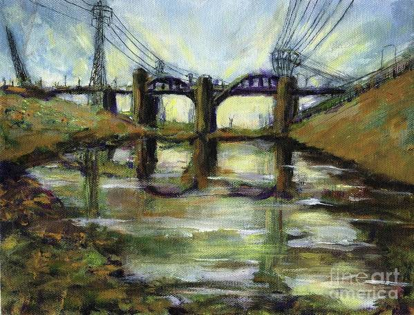 Urban. Blight Art Print featuring the painting LA River 6th Street Bidge by Randy Sprout