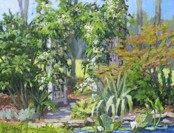 Lush Garden Arbor Art Print featuring the painting Labor Of Love by L Diane Johnson