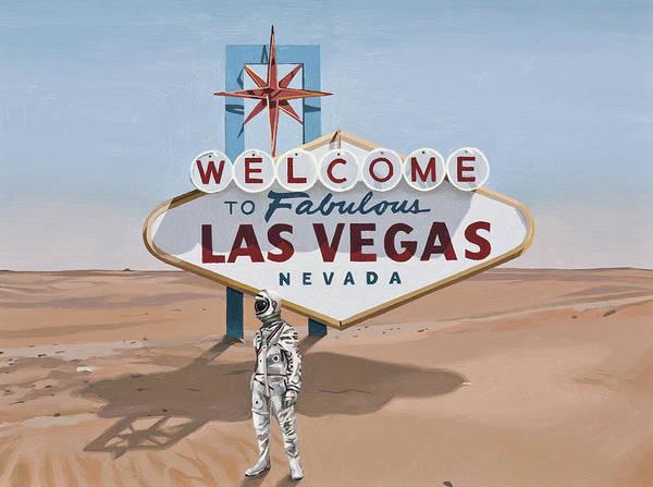 Astronaut Art Print featuring the painting Leaving Las Vegas by Scott Listfield