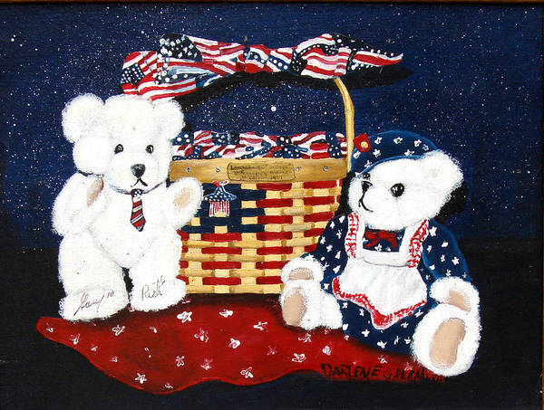 Teddy Bears Art Print featuring the painting Let us celebrate by Darlene Green