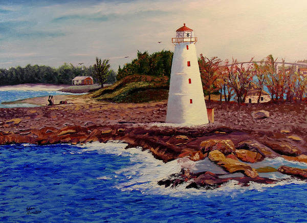 Original Oil On Canvas Art Print featuring the painting Light House by Stan Hamilton