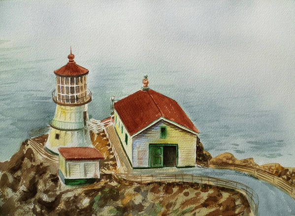 Lighthouse Art Print featuring the painting Lighthouse Point Reyes California by Irina Sztukowski