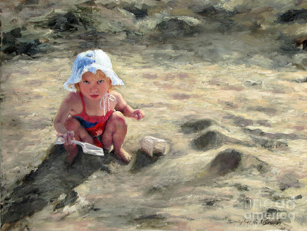 Children Art Print featuring the painting Little girl playing by herself by Chris Neil Smith