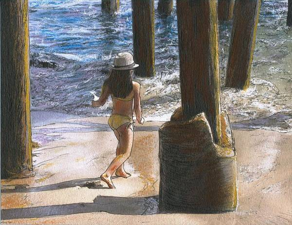 California Art Print featuring the painting Little Jessica and Her Hat Malibu Pier by Randy Sprout