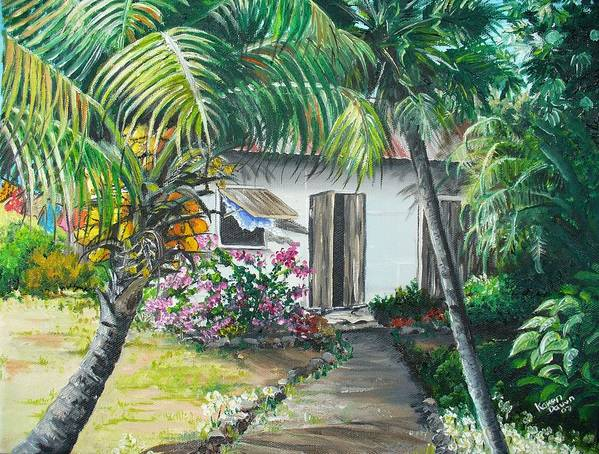 Caribbean Painting Typical Country House In Trinidad And The Islands With Coconut Tree Tropical Painting Art Print featuring the painting Little West Indian House 2...sold by Karin Dawn Kelshall- Best