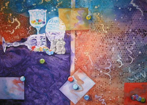 Marbles Art Print featuring the painting Losing My Marbles by Jean Blackmer