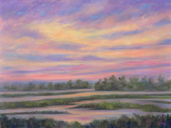 Low Country Art Print featuring the painting Low Country Marsh Sunset by Jeff Pittman