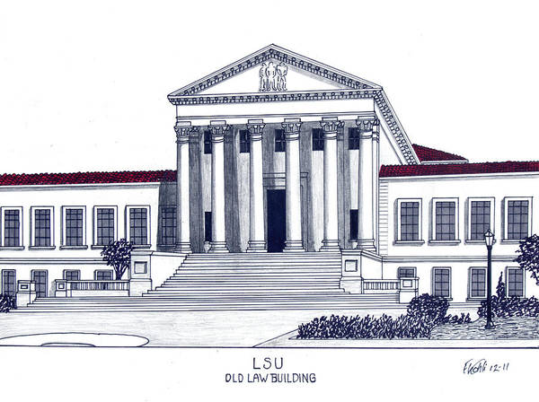 College Buildings Drawings Art Print featuring the drawing LSU Old Law Building by Frederic Kohli