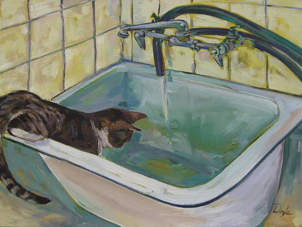 Cats Art Print featuring the painting Lucy Loves Water by Karen Doyle