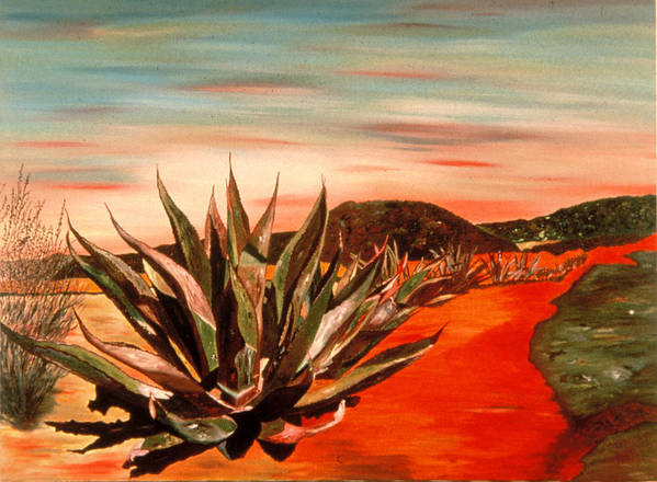 Landscape Art Print featuring the painting Magueys at Sunset by Oudi Arroni