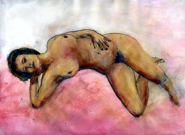 Nude Art Print featuring the painting Nude Maria on Pink Sheets by Randy Sprout