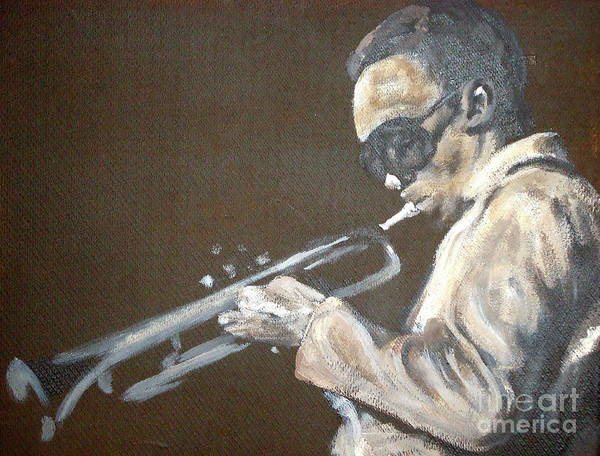 Miles Davis Art Print featuring the painting Miles I by Pete Maier
