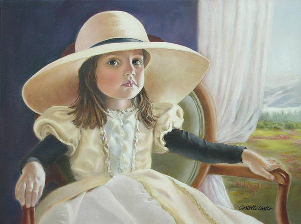 Portrait Art Print featuring the painting Mimi's Hat by JoAnne Castelli-Castor