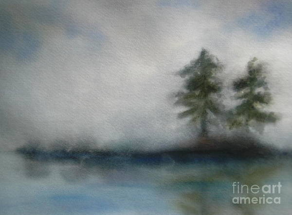Landscape Art Print featuring the painting Misty Waters by Vi Mosley