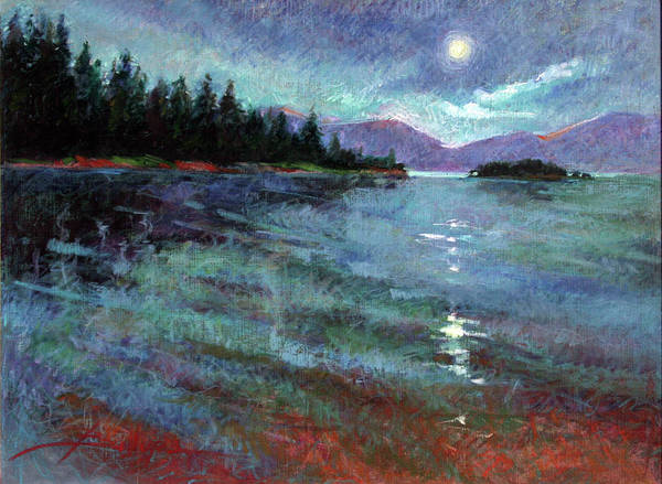 Murals Art Print featuring the painting Moon Over Pend Orielle by Betty Jean Billups
