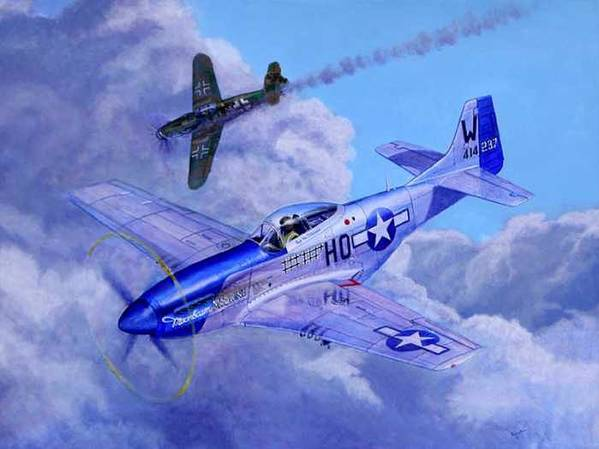 Capt Bill Wisner Shoots Down Two Bf-109s On November 2nd 1944 Art Print featuring the painting Moonbeam McSwine by Scott Robertson