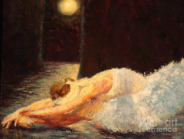 Ballerina (framed) Art Print featuring the painting Moonlight Ballet by Colleen Murphy