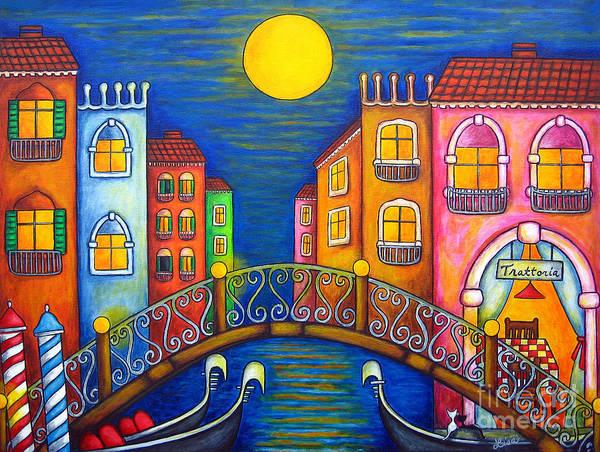 Venice Art Print featuring the painting Moonlit Venice by Lisa Lorenz