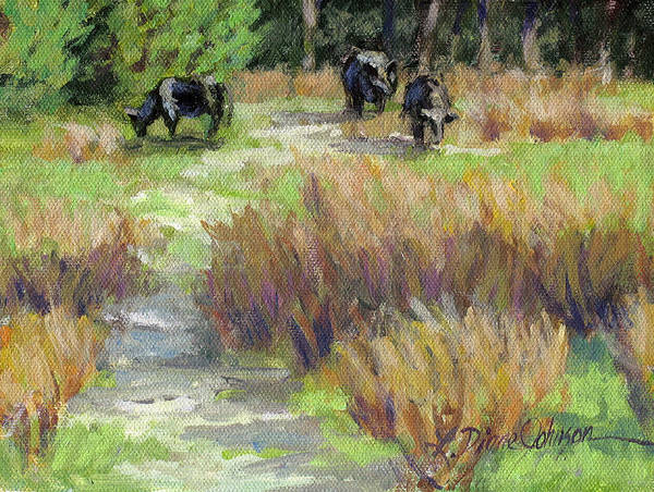 Cows In Field Art Print featuring the painting Morning Munch by L Diane Johnson
