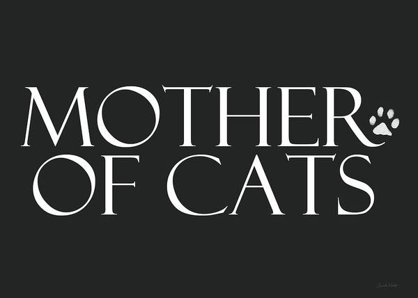 Cat Art Print featuring the digital art Mother of Cats- by Linda Woods by Linda Woods