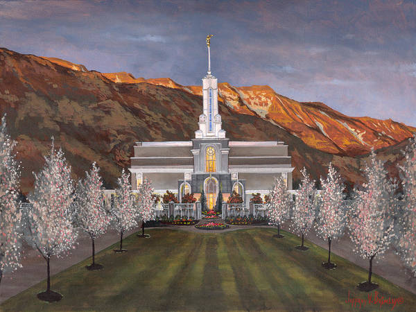 Temple Art Print featuring the painting Mount Timpanogos Temple by Jeff Brimley