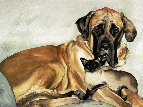 Portrait Art Print featuring the painting Murphy and Cody by Eileen Hale