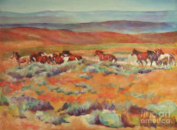 Horse Art Print featuring the painting Mustangs Running Near White Mountain by Karen Brenner