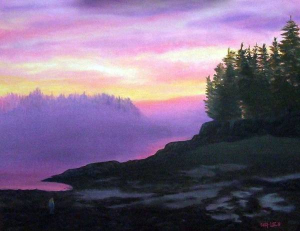 Sunset Art Print featuring the painting Mystical Sunset by Sharon E Allen