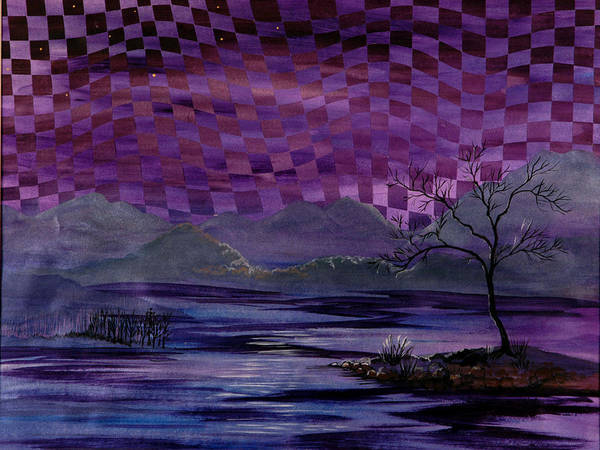Dusk Art Print featuring the painting Nightscape by Linda L Doucette
