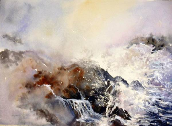 Seascape Art Print featuring the painting Ocean Rage by Lynne Parker