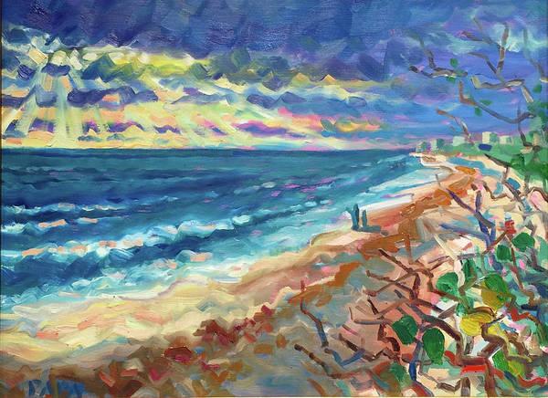 Atlantic Ocean Art Print featuring the painting Ocean View at Jupiter by Ralph Papa