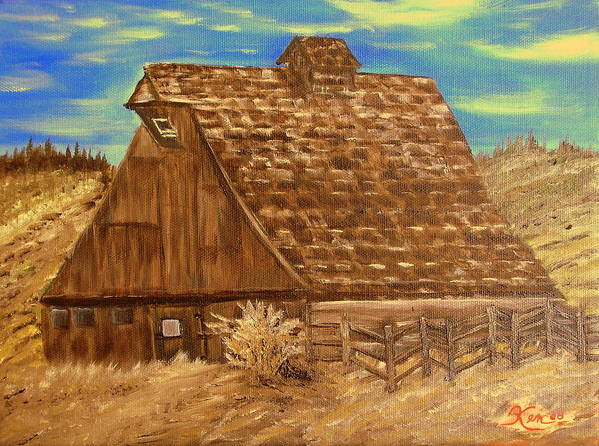 Landscape Art Print featuring the painting Old Barn Series by Kenneth LePoidevin