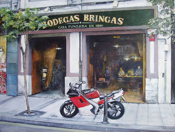 Bodegas Bringas Art Print featuring the painting Old bodegas Bringas by Tomas Castano