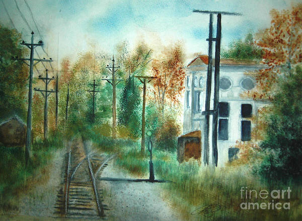 Landscape Art Print featuring the painting Old CN Station Fort Langley BC by Vi Mosley