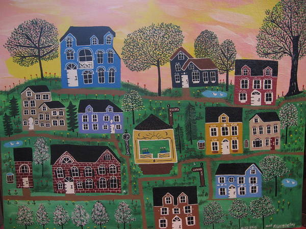 Landscape Art Print featuring the painting Olenalanthe Park- The Dream of Days to Come by Mike Filippello