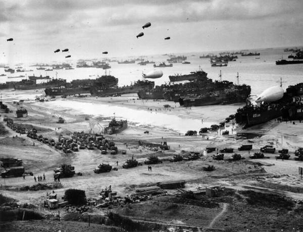 D Day Art Print featuring the photograph Omaha Beach Resupply - Normandy Invasion - 1944 by War Is Hell Store