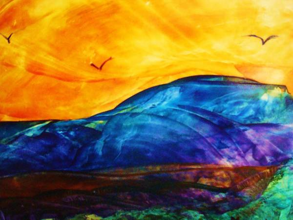 Landscape Art Print featuring the painting One Fine Day by Melinda Etzold