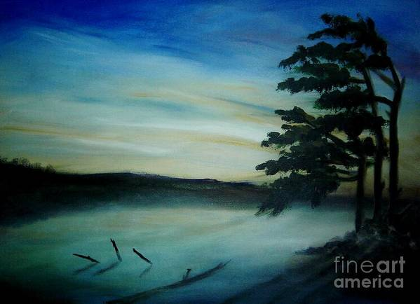 Landscape Art Print featuring the painting One Sided by Vi Mosley