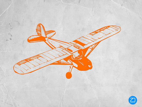 Plane Art Print featuring the painting Orange Plane 2 by Naxart Studio