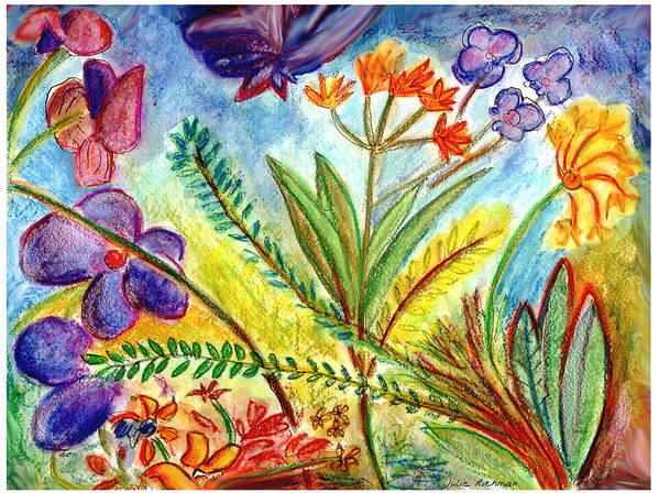 Flowers Art Print featuring the painting Orchids and more by Julie Richman