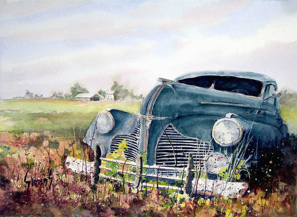 Classic Car Art Print featuring the painting Out To Pasture by Sam Sidders