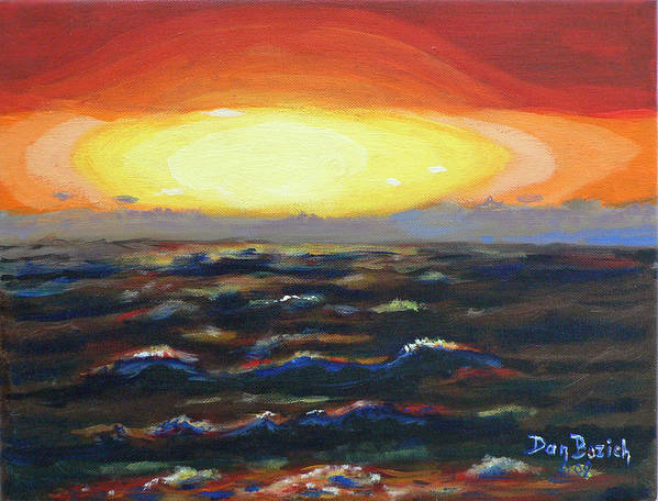 Setting Sun Art Print featuring the painting Pacific Sunset by Dan Bozich