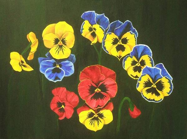 Pansy Flowers Art Print featuring the painting Pansy Lions Too by Brandy House